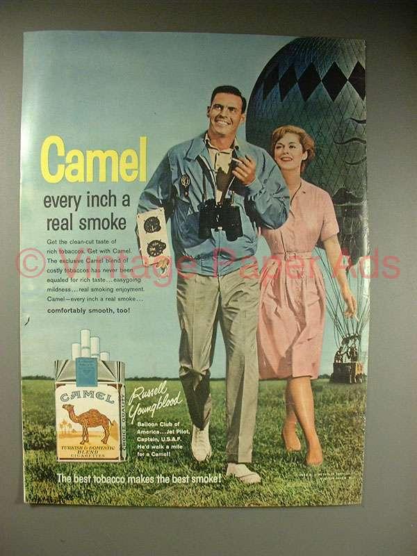 1963 Camel Cigarette Ad w/ Hot Air Balloon - Real Smoke