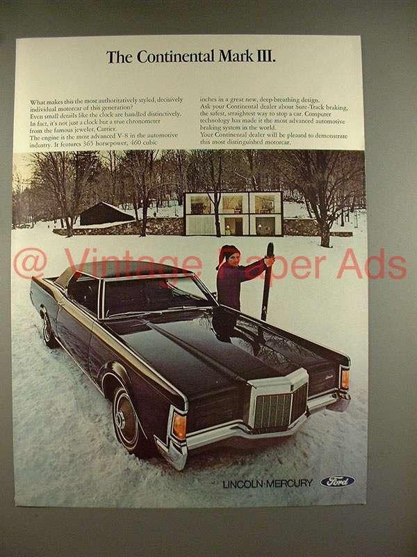 1969 lincoln continental mark iii car ad snow scene. Black Bedroom Furniture Sets. Home Design Ideas
