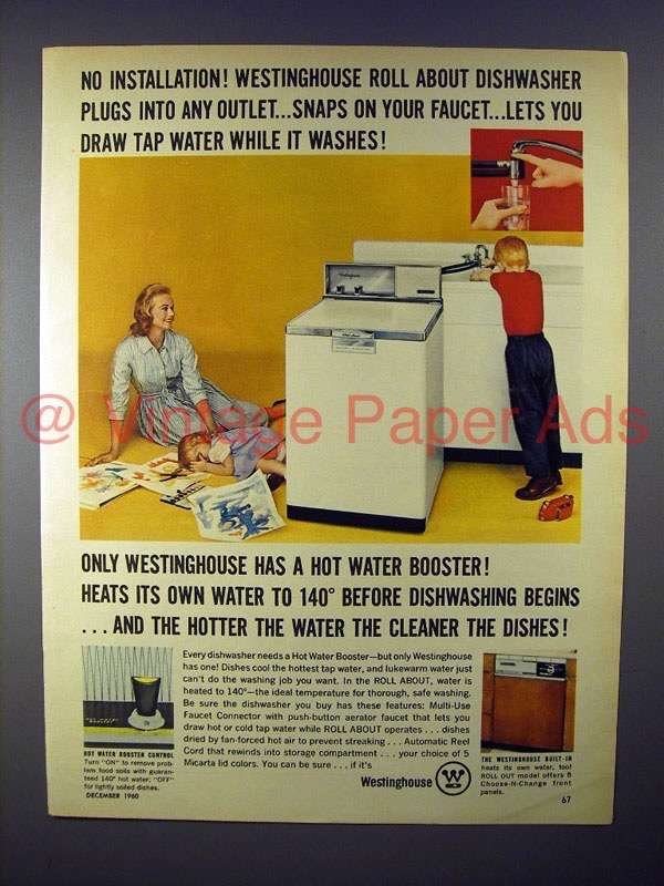 1960 Westinghouse Roll About Dishwasher Ad