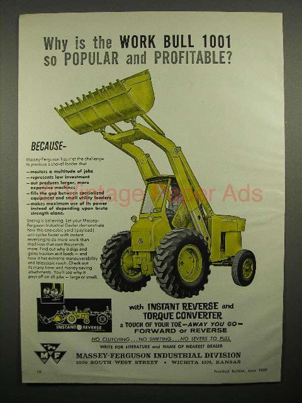 1959 Massey Ferguson Work Bull 1001 Shovel Loader Ad