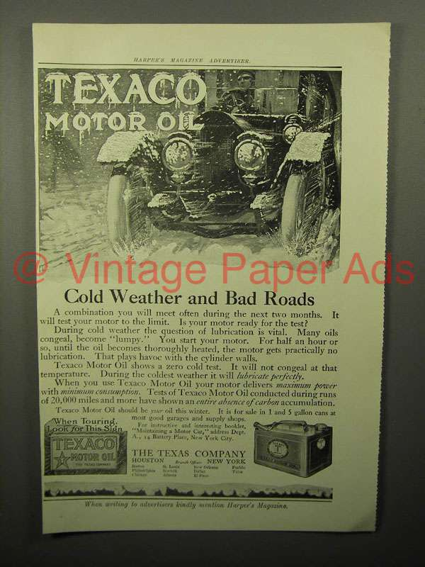1913 texaco motor oil ad cold weather for What motor oil is best for cold weather