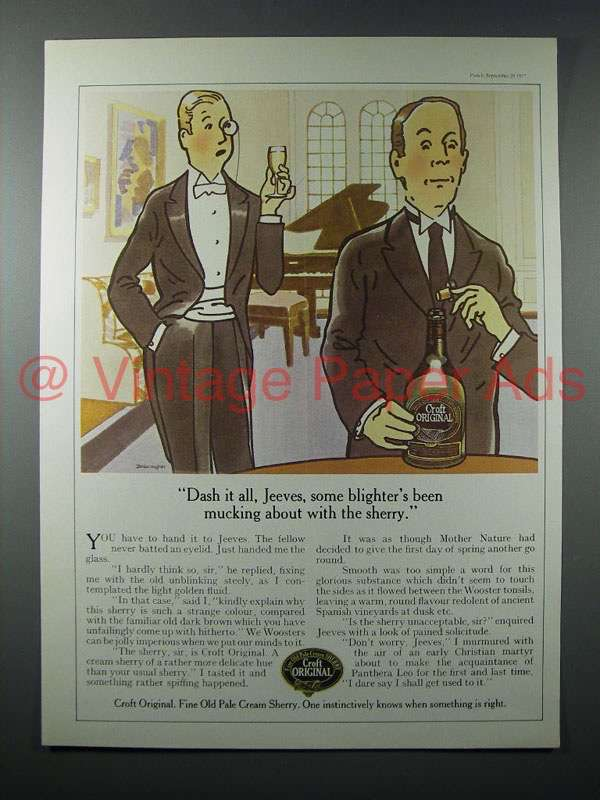 1977 Croft Original Sherry Ad - Dash it All, Jeeves