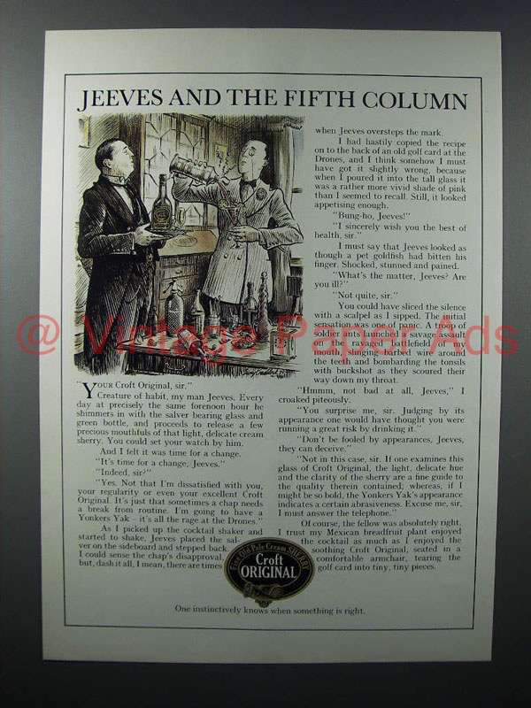 1979 Croft Original Sherry Ad - Jeeves Fifth Column