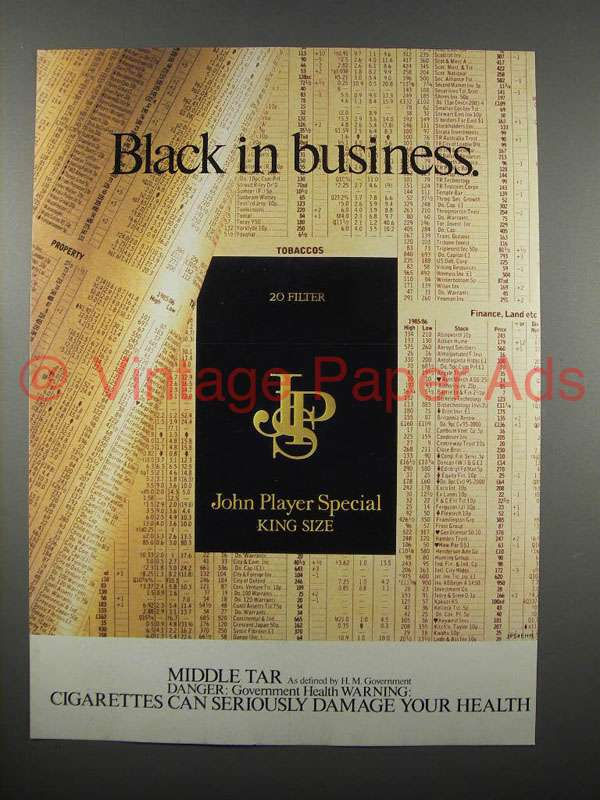 1986 john player special cigarette ad black business. Black Bedroom Furniture Sets. Home Design Ideas