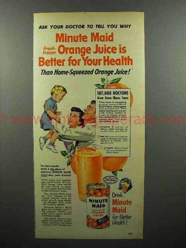 1952 Minute Maid Orange Juice Ad Better For Health