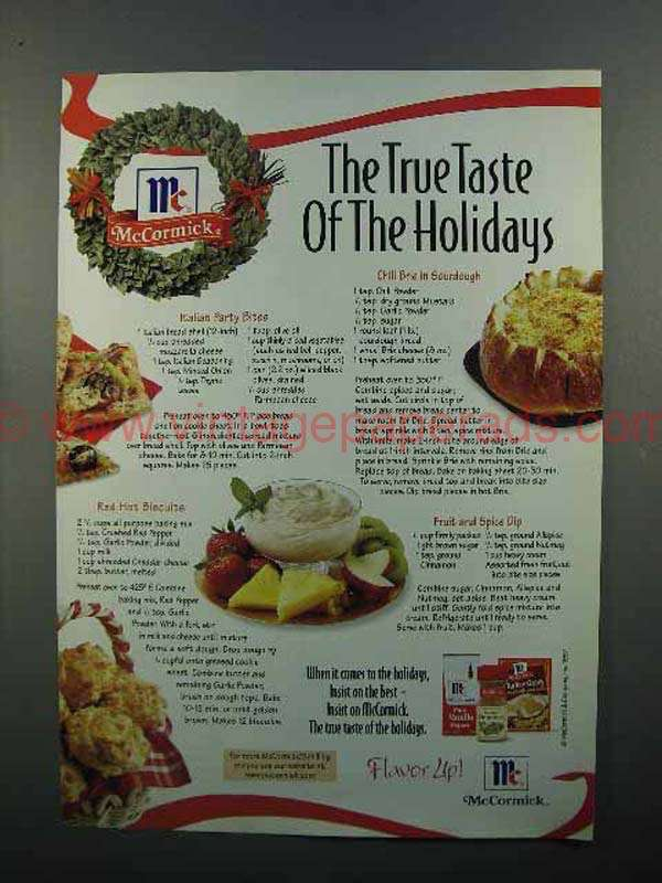 1997 McCormick Spices Ad - True Taste of the Holidays
