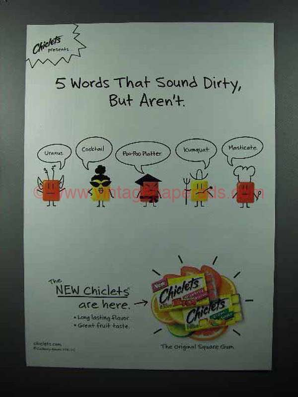 2004 Chiclets Gum Ad 5 Words Sound Dirty But Aren T