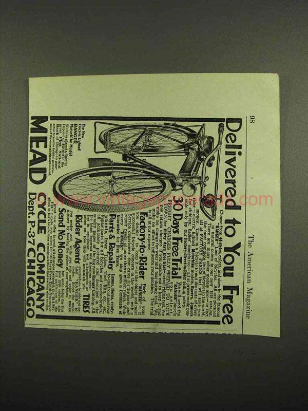 1918 Mead Ranger Bicycle Ad