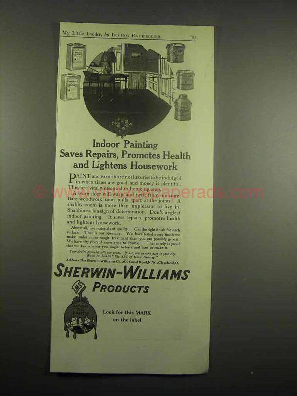 1918 Sherwin Williams Paint Ad Painting Saves Repairs