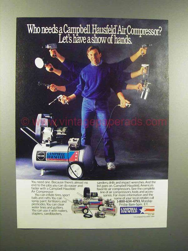 Vintage Campbell Hausfeld Air Compressor : Campbell hausfeld air compressor ad show hands
