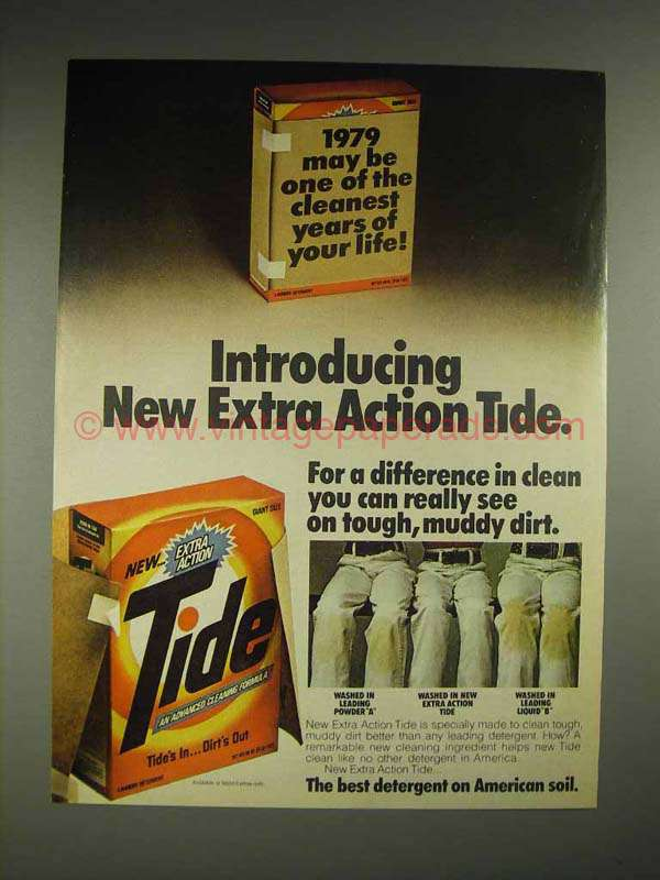 1979 Tide Detergent Ad New Extra Action Tide