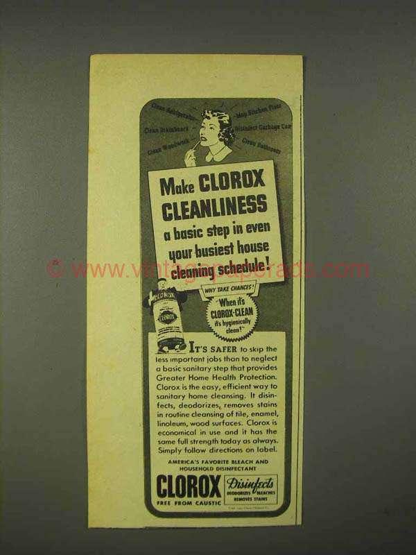 1944 Clorox Bleach Ad - Cleanliness