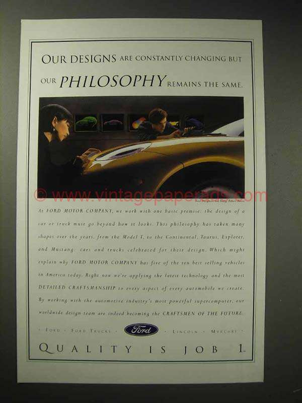 1995 Ford Motor Company Ad Our Designs Are Changing