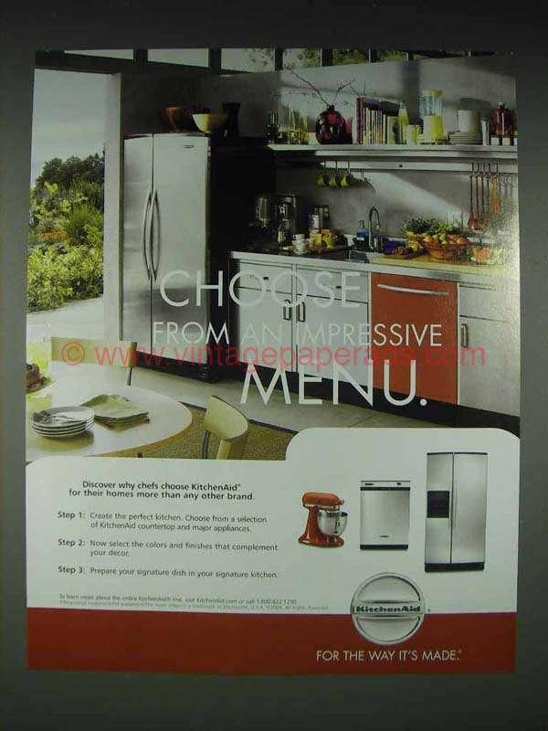 2004 Kitchenaid Appliances Ad Impressive Menu