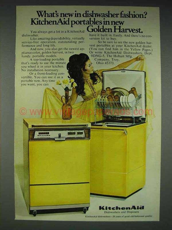 1969 Kitchenaid Portable Dishwasher Ad Golden Harvest