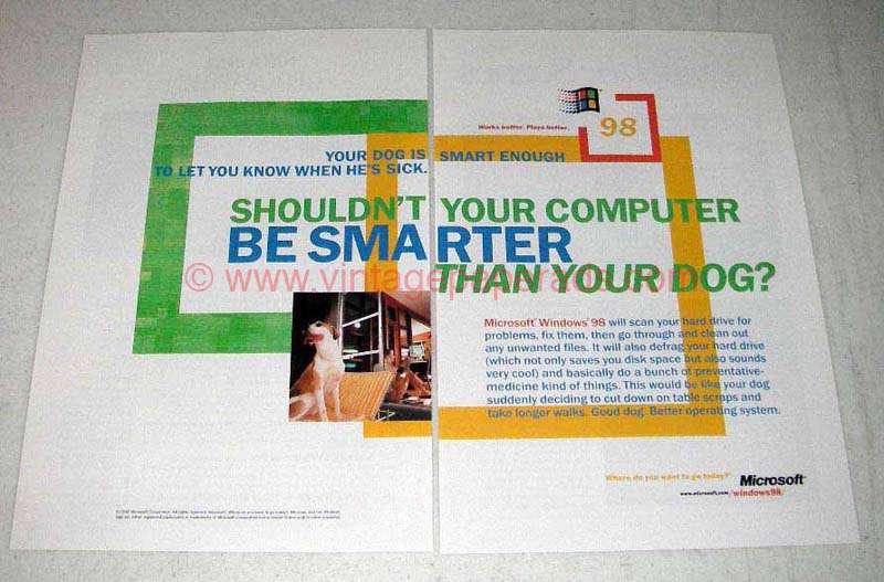 1998 Microsoft Windows 98 Ad - Smarter Than Your Dog