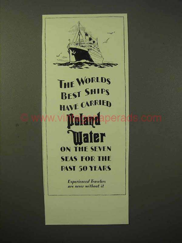 1929 Poland Water Ad Worlds Best Ships Carried