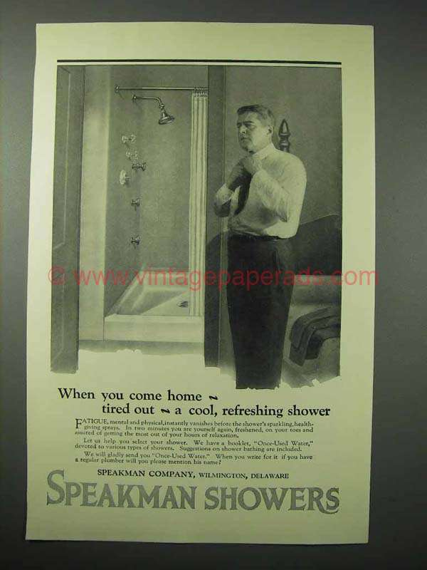1923 Speakman Showers Ad When You Come Home Tired