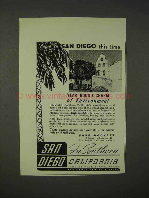 1939 San Diego California Tourism Ad Come This Time