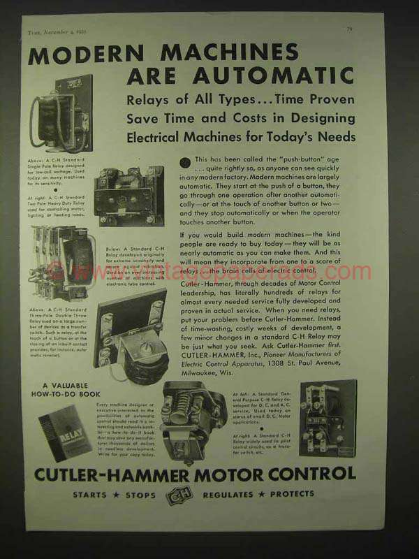 1935 Cutler Hammer Motor Control Relays Ad