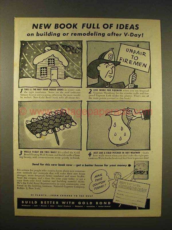 1944 Gold Bond Gypsum Sheathing Ad After V Day