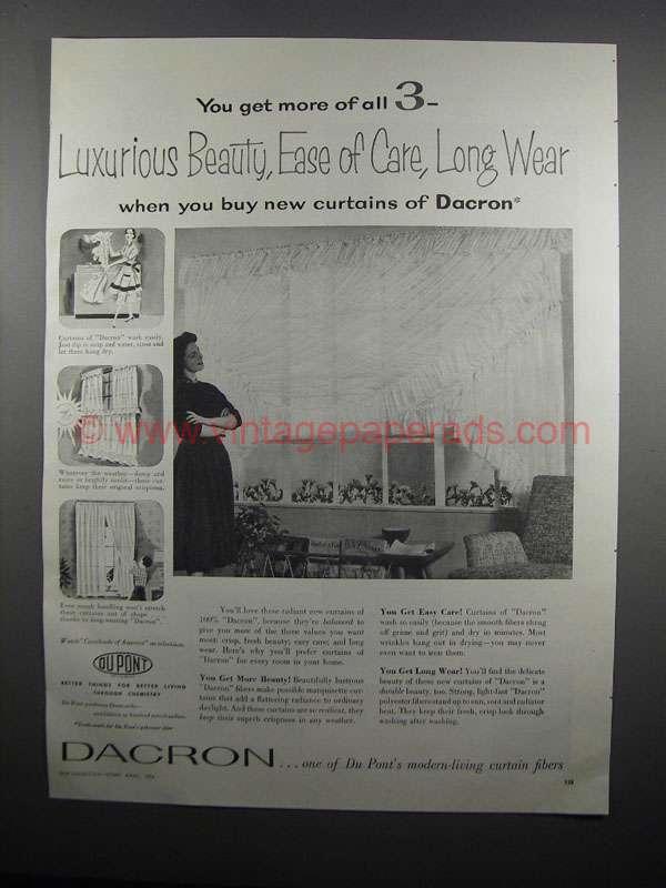 1954 Du Pont Dacron Curtains Ad - Luxurious Beauty Dacron 1954