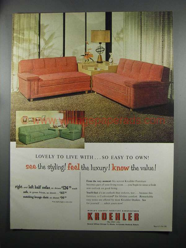 1953 Kroehler Furniture Sofa And Lounge Chair Ad