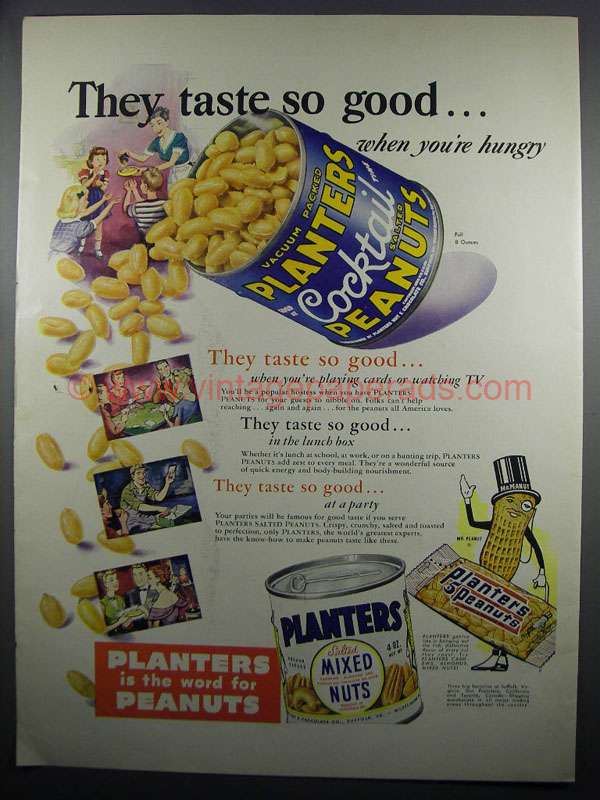 1950 Planters Cocktail Peanuts Amp Mixed Nuts Ad