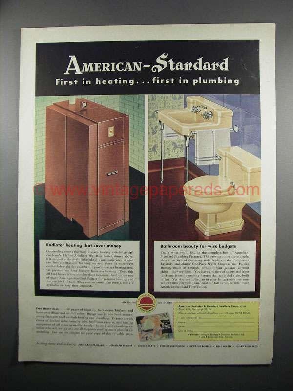 1950 American Standard Ad Arcoliner Boiler Lavatory