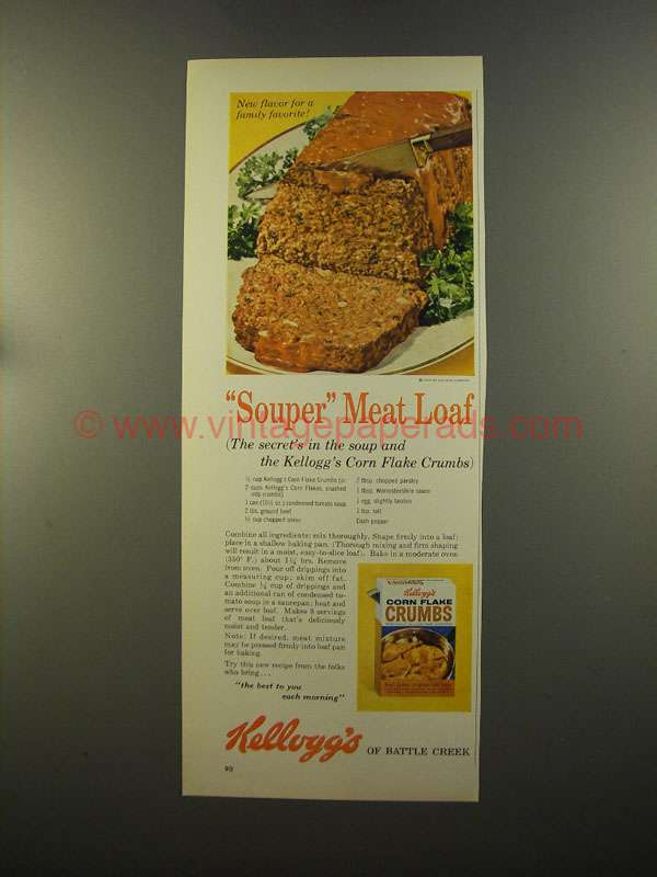 1959 Kellogg's Corn Flake Crumbs Ad - Meat Loaf