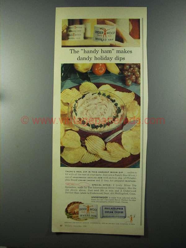 1958 Underwood Deviled Ham & Cream Cheese Ad