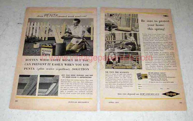 1955 Dow Penta Wood Preservative Ad Rotten Wood