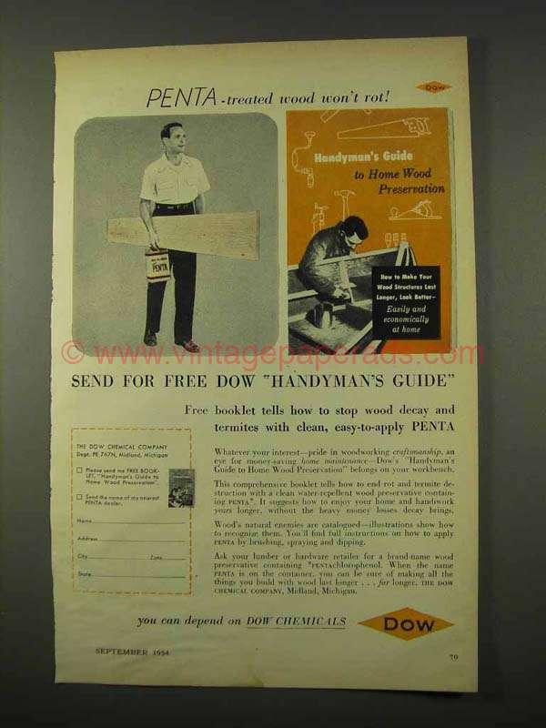 1954 Dow Penta Wood Preservative Ad Wood Won T Rot