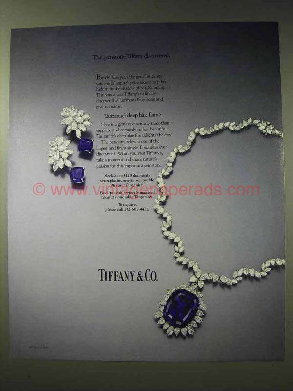 1986 Tiffany & Co. Tanzanite Necklace, Earclips Ad