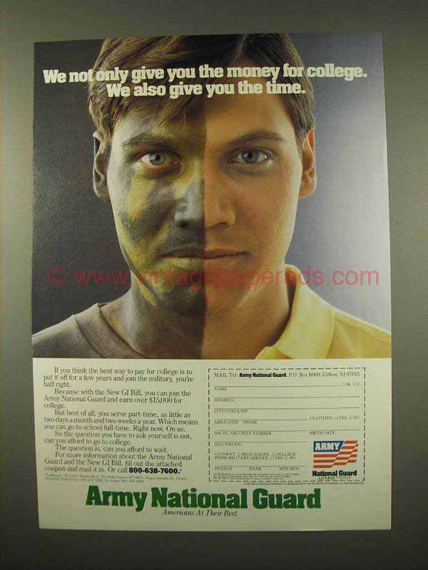 1987 Army National Guard Ad Give Money For College