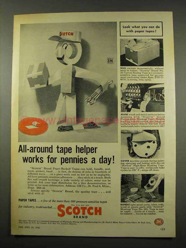 1956 3M Scotch Tape Ad - Works for Pennies a Day