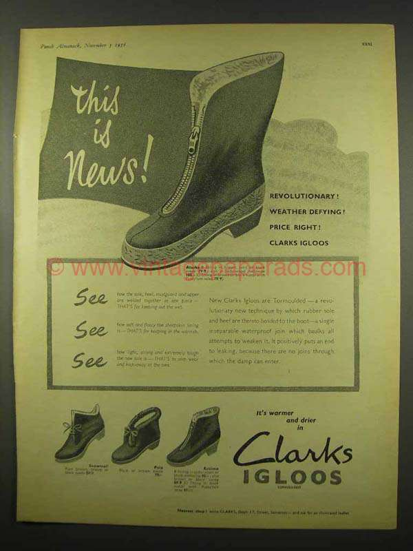 1956 Clarks Alaska B, Snowtrail, Pola, Eskimo Boots Ad