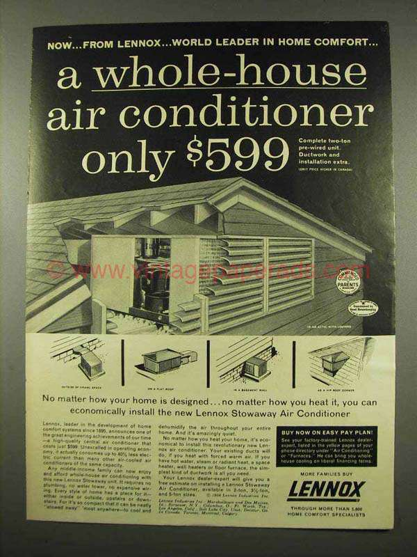 1956 Lennox Stowaway Air Conditioner Ad Whole House