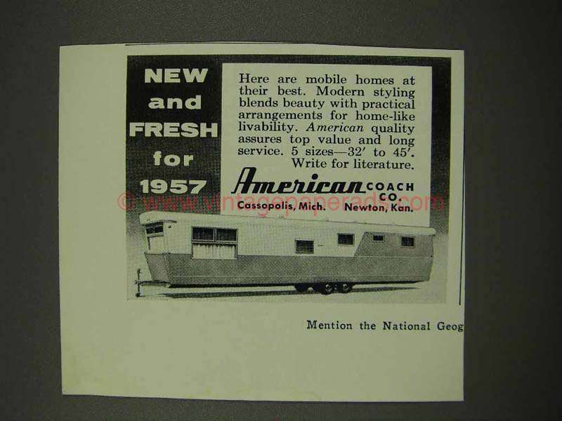 1956 American Coach Mobile Home Ad - New And Fresh
