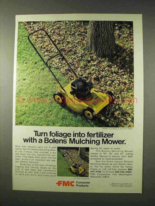 1977 Bolens Mulching Mower #8621 Ad, Foilage Fertilizer