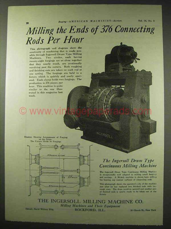 1922 ingersoll drum type continuous milling machine ad. Black Bedroom Furniture Sets. Home Design Ideas