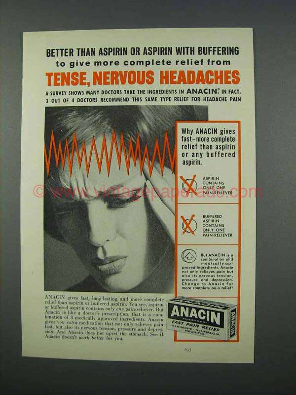 1962 Anacin Tablets Ad - Tense, Nervous Headaches