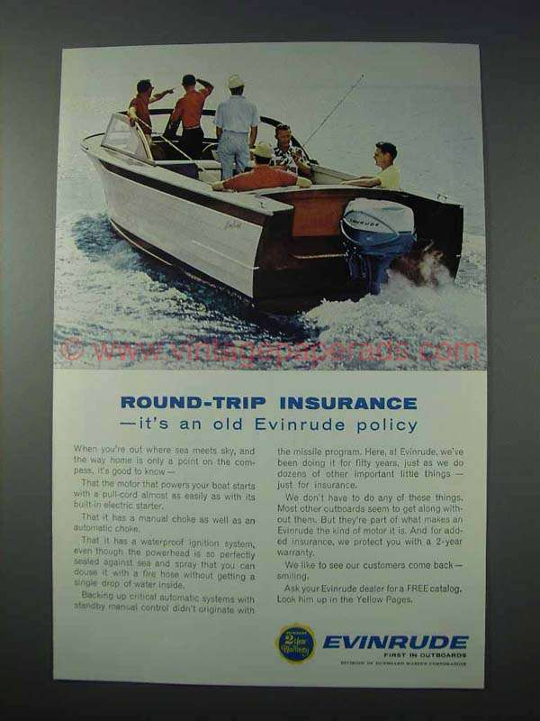1963 Evinrude Outboard Motor Ad Round Trip Insurance