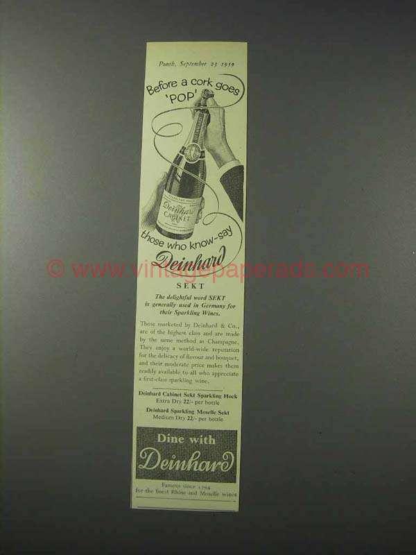 1959 deinhard sekt sparkling wine ad cork goes pop for Deinhard wine