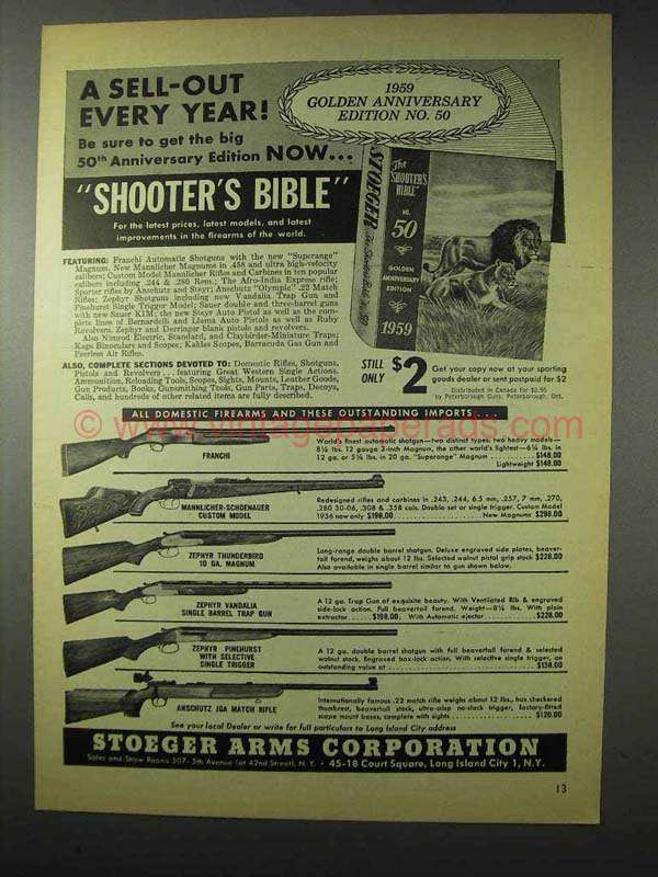 1958 Stoeger Arms Ad - Franchi, Zephyr,  Anschutz +