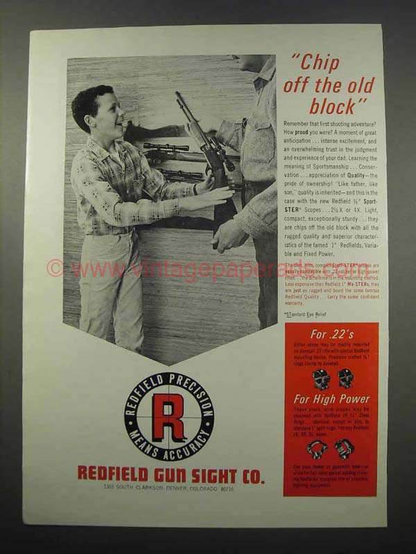 1965 Redfield Scopes Ad - Chip Off the Old Block