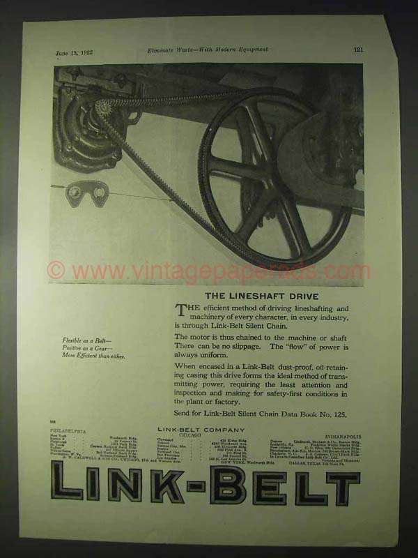 1922 Link Belt Silent Chain Ad The Lineshaft Drive