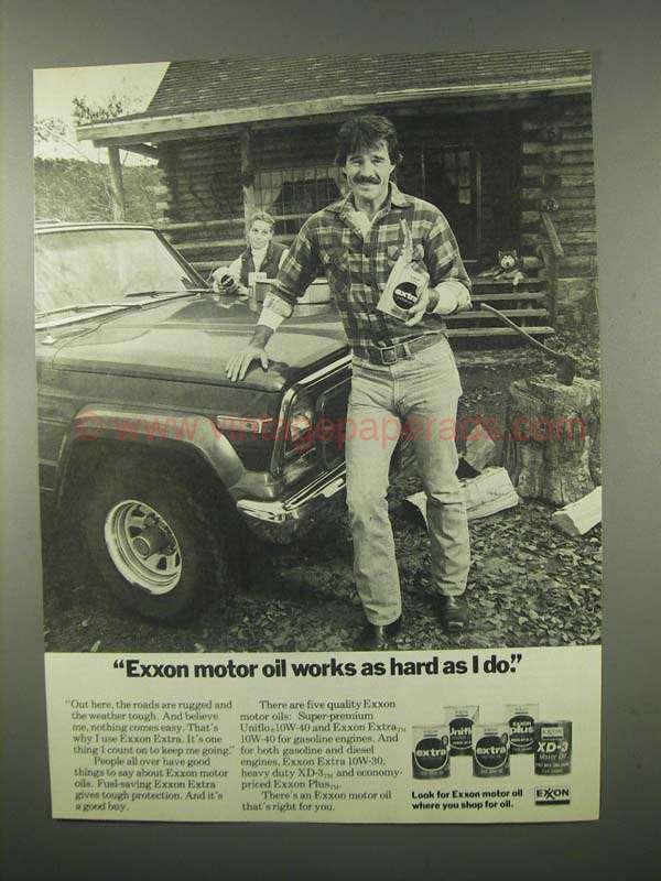 1982 Exxon Motor Oil Ad Works As Hard As I Do
