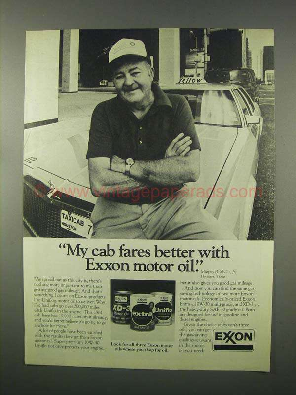 1981 Exxon Motor Oil Ad My Cab Fares Better