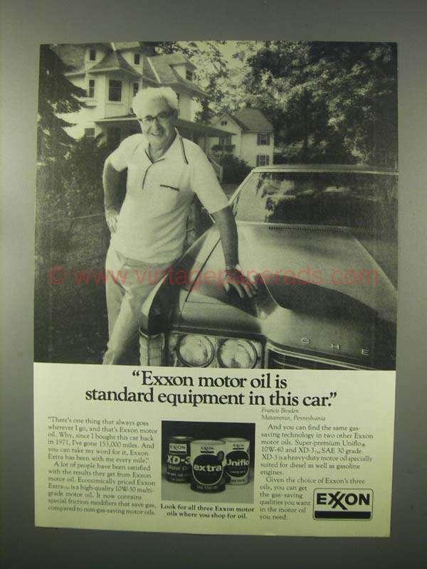 1981 Exxon Motor Oil Ad Standard Equipment